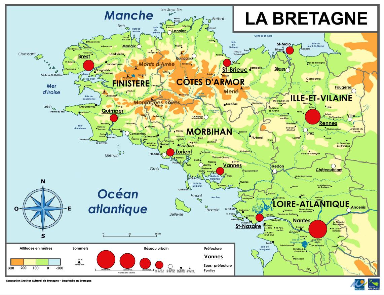 Carte de Bretagne - Voyages - Cartes