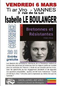 Conférence : «Bretonnes et résistantes 1940-1944» par Isabelle Le BOULANGER @ VANNES